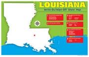 Louisiana Write-On/Wipe-Off Desk Mat - State Map