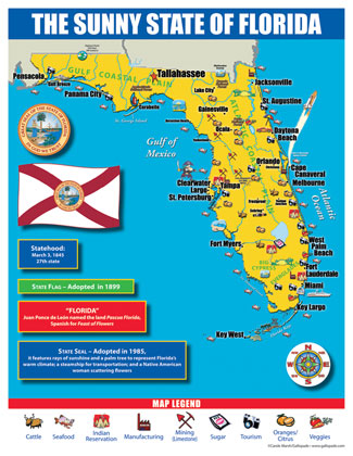 Flordia State Map.Florida State Map For Students Pack Of 30