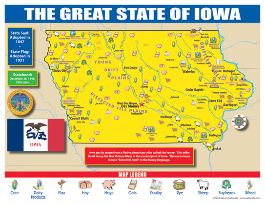 Iowa State Map for Students - Pack of 30