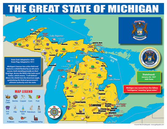 Michigan State Map for Students - Pack of 30