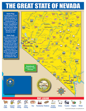 Nevada State Map For Students Pack Of 30