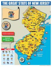 New Jersey State Map for Students - Pack of 30