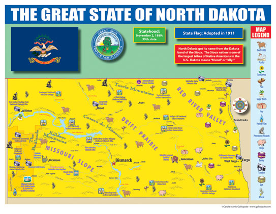 North Dakota State Map for Students - Pack of 30