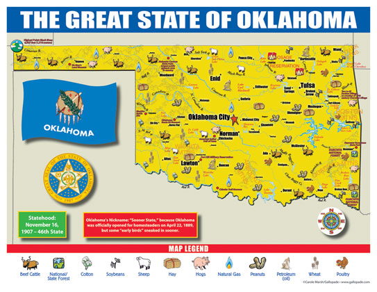 State Map Oklahoma.Oklahoma State Map For Students Pack Of 30