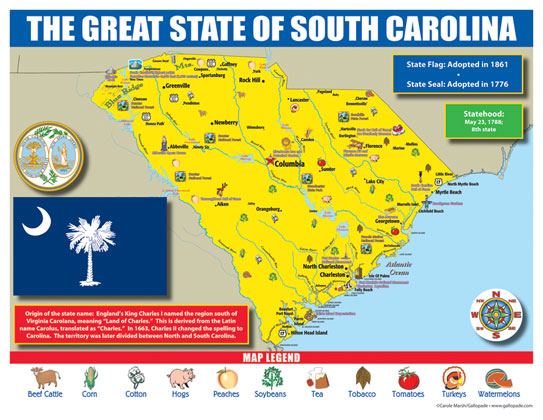South Carolina State Map for Students - Pack of 30
