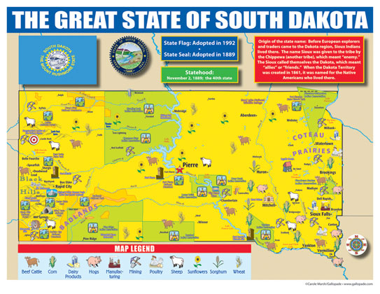 South Dakota State Map For Students Pack Of 30