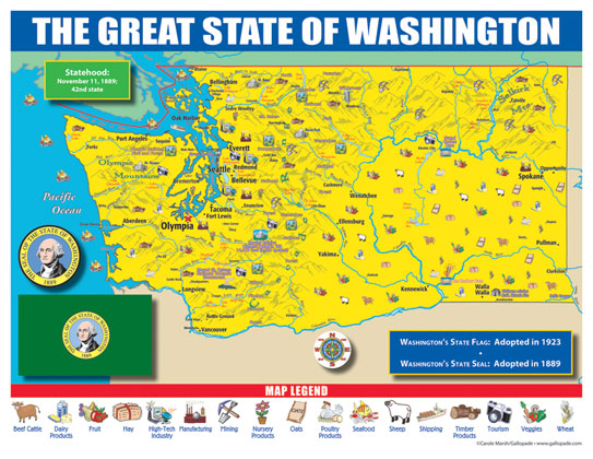 Washington State Map for Students - Pack of 30