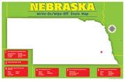 Nebraska Write-On/Wipe-Off Desk Mat - State Map