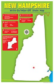 New Hampshire Write-On/Wipe-Off Desk Mat - State Map