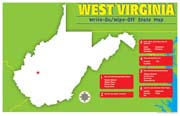 West Virginia Write-On/Wipe-Off Desk Mat - State Map
