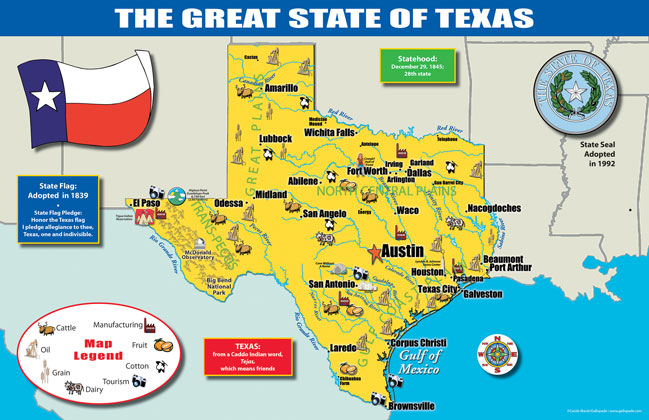 A Map Of The State Of Texas.Texas State Map