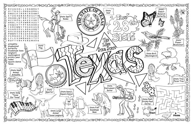 FREE Printable Texas State Flag & color book pages | 8½ x 11 | 420x649