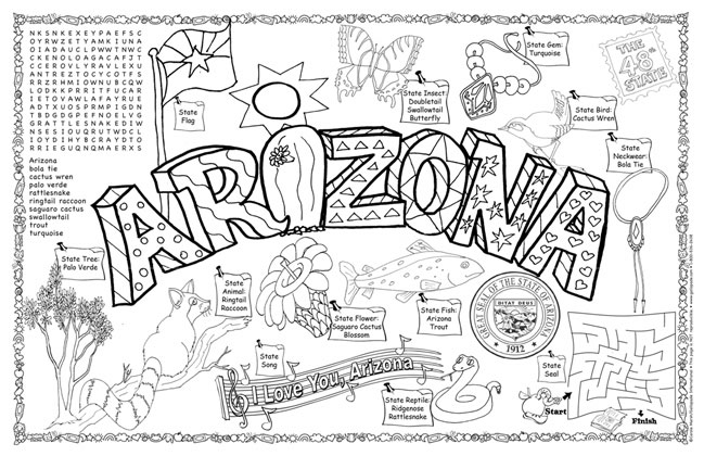 Arizona Symbols Facts Funsheet Pack Of 30