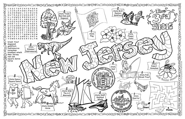 New jersey symbols facts funsheet pack of 30 for New jersey state seal coloring page