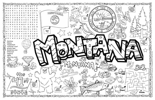 Montana Symbols Facts Funsheet Pack Of 30
