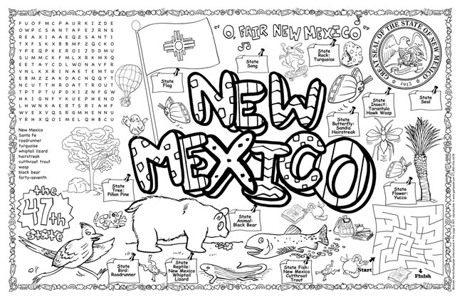 New Mexico Symbols Facts Funsheet Pack Of 30