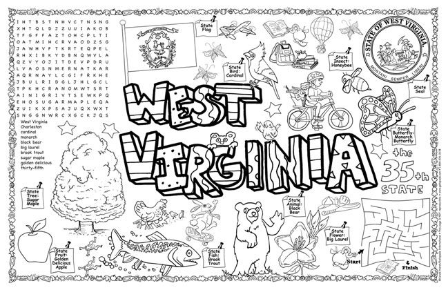 West Virginia State Symbols coloring page | Free Printable ... | 420x649