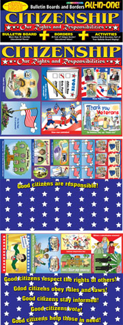 Citizenship: Our Rights and Responsibilities Bulletin Boards with Borders
