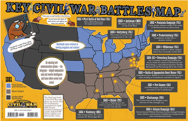 Key Civil War Battles Map